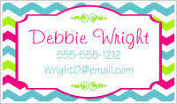 Calling Cards - Chevron Stripes (Rainbow Colors) - Option 2