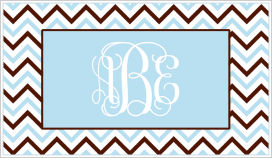 Enclosure Cards - Chevron Stripe (Blue, Brown and White)