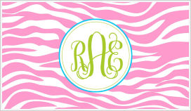 Enclosure Cards - Pink and White Zebra Stripes w/ Circle Monogram