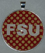 "Glass Pendant & Necklace - 1.5"" Round FSU/Polka Dot Background"