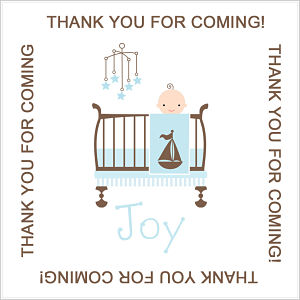 Favor Tags and Stickers - Baby Boy In Crib Tags
