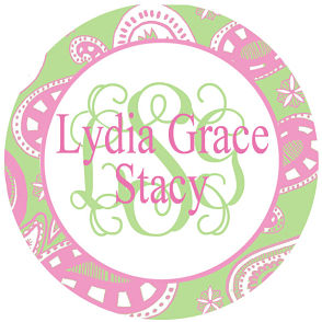 Favor Tags and Stickers - Pink and Green Paisley w/Monogram & Full Name Stickers
