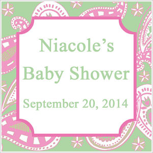 Favor Tags and Stickers - Pink and Green Paisley  Tags