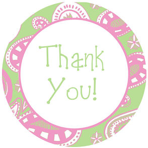 Favor Tags and Stickers - Pink and Green Paisley Thank You Tags