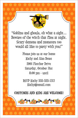 Halloween Party Invitations- Fun Witch On A Broom