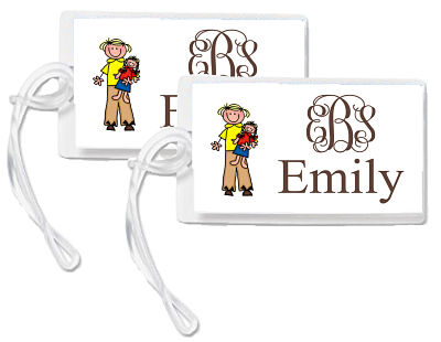 Bag Tags - Monogram with Girl and Doll