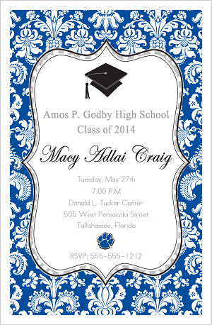 Graduation Invitations- Fun Damask and Polka Dots