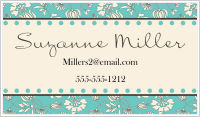 Calling Cards - Flower Silhouette Background (Teal and Gray)