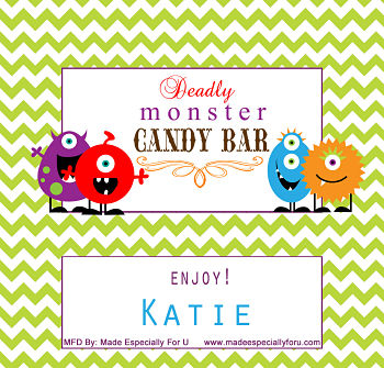 Halloween Candy Bar Wrappers (HCB) - Friendly Monsters - Option 2