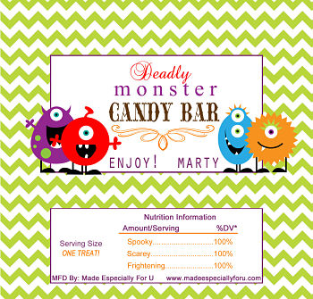 Halloween Candy Bar Wrappers (HCB) - Friendly Monsters