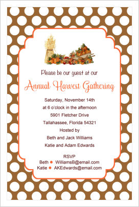 Thanksgiving Invitations- Harvest Gathering