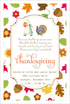Thanksgiving Invitations- Pilgrim Girl and Turkey