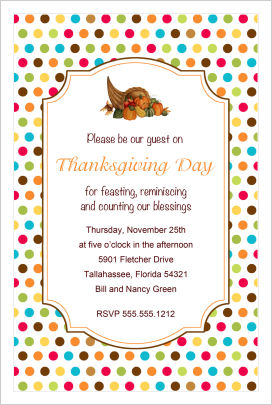 Thanksgiving Invitations- Thanksgiving Cornucopia