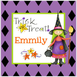 Halloween Enclosure Cards, Tags and Stickers (ECSH) - Cute Witch