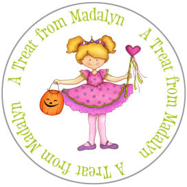 Halloween Sticker and Tags (ECSH) - Girl Dancer With Halloween Candy