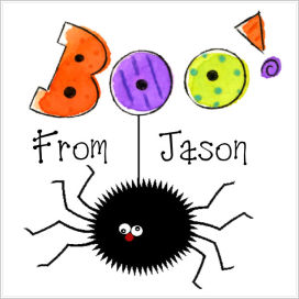 "Halloween Enclosure Cards, Tags and Stickers (ECSH) - Spider and Words ""BOO!"""