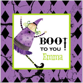 Halloween Enclosure Cards, Tags and Stickers (ECSH) - Purple Witch - Boo To You!