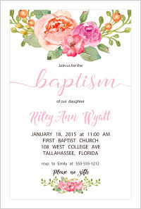 Baptism/Christening Invitations - Beautiful Boho Flowers