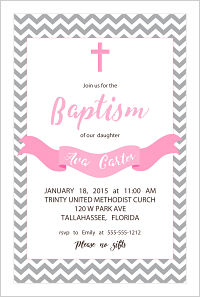 Baptism/Christening Invitations - Gray Chevron Strips (Pink Cross and Banner-Girls)