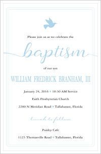 Baptism/Christening Invitations - Beautiful and Classic Dove