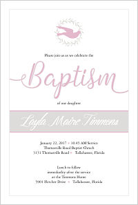 Baptism/Christening Invitations - Dove and Wreath