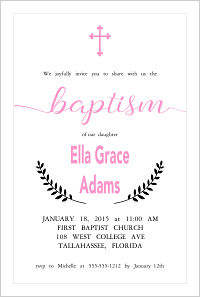 Baptism/Christening Invitations - Girls Pink Cross
