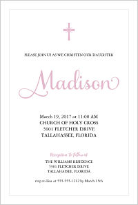 Baptism/Christening Invitations - Pink Girly Cross