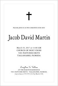 Baptism/Christening Invitations - Simple Cross