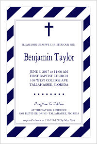 Baptism/Christening Invitations - Navy Stripes and Cross