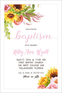 Baptism/Christening Invitations - Elegant Sunflowers