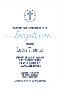 Baptism/Christening Invitations - Arrow Wreath (Boys)