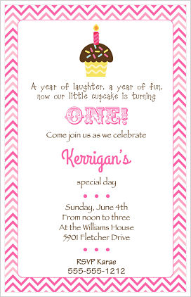 Kids Birthday Invitations-Cupcake (Option 2)