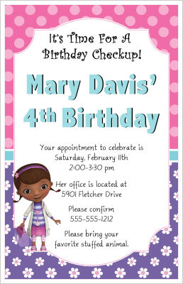 Kids Birthday Invitations Doc McStuffins