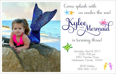 Kids Birthday Invitations-Mermaid (Option 2-Wide)