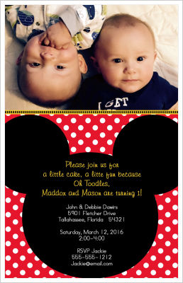 Kids Birthday Invitations-Mickey Mouse/PolkaDots (Option 2)
