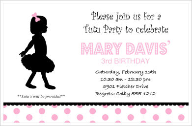 Kids Birthday Invitations-Tutu Party