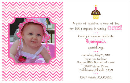 Kids Birthday Invitations-1st Birthday/Cupcake/Photo