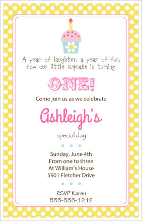 Kids Birthday Invitations-Cupcake Invitations