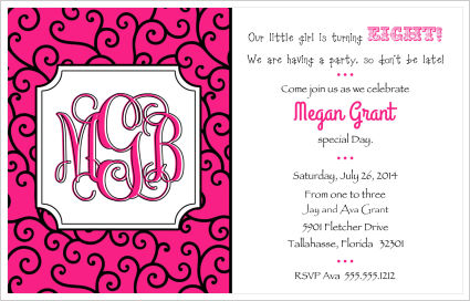 Kids Birthday Invitations-Hot Pink and Black Curly Q's w/Monogram
