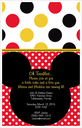 Kids Birthday Invitations-Silhouette Mickey Mouse/PolkaDots