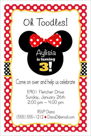 Kids Birthday Invitations-Minnie Mouse