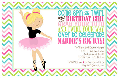 Kids Birthday Invitations-Spin and Twirl With The Birthday Girl