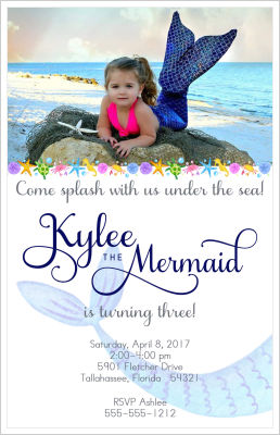 Kids Birthday Invitations-Mermaid (Option 1-Tall)