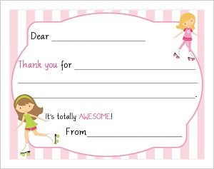 Kids' Fill In The Blank Thank You Notes