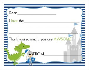 Kids' Fill In The Blank (KFB) - Knight and dragon