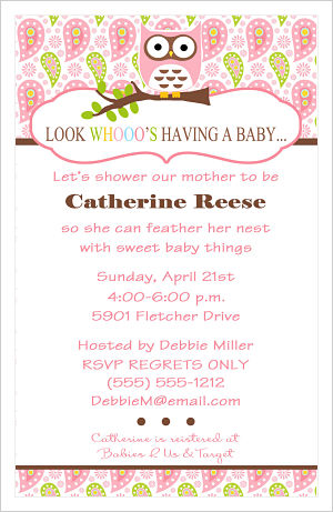 Baby Shower Invitations-Look Whooo's Having A Baby