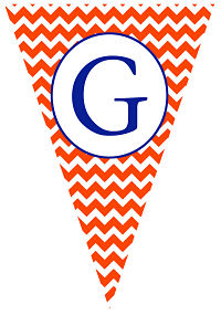 Banners - Blue Letter and Orange Chevron Stripe (Pennant Shape)