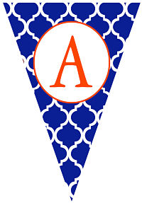 Banners - Orange Letter and Blue Trellis  (Pennant Shape)