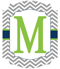 Banners - Gray Chevron Stripes with Navy and Green (Ticket Shape)