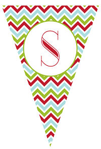 Banners - Red, Green, Blue Chevron Stripes (Pennant Shape)